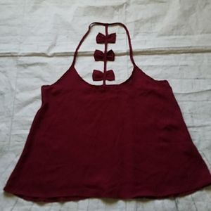 Maroon Spaghetti Top with bows on back